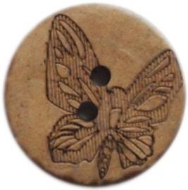 Houten knoop met vlinder 2 cm