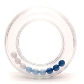 Rammelaar ring met balletjes 80 mm blauw