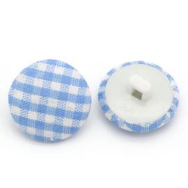 Stoffen knoop met ruitmotief blauw 14 mm