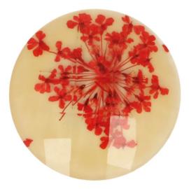 Handgemaakte bloemenknoop nr. 089 creme