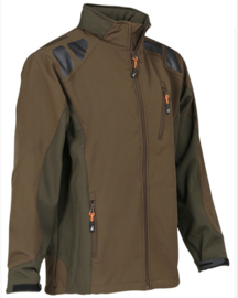 Percussion bruin/groen softshell jas