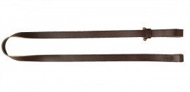 Verstelbare leren geweerriem, handgenaaid en houten klosje