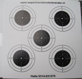 Schietkaarten 14x14 cm type 2 (grof)-  5 rozen 100 stuks