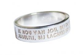 Zilveren ring met zeegedicht van Challa