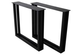 Tafelpoten - U-model - 80x72 cm - gepoedercoat zwart metaal - set van 2