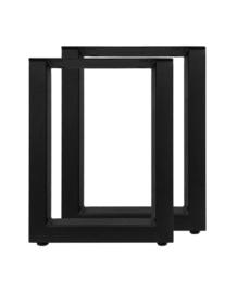 Eetbankonderstel - U-model - 32x42 cm - gepoedercoat zwart metaal - set van 2