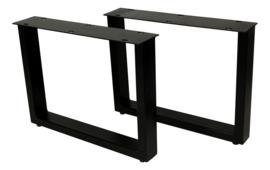 Salontafelpoten - U-model - 50x38 cm - gepoedercoat zwart metaal - set van 2