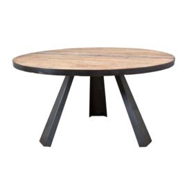 Eettafel  Elm hout incl. metalen poot  Ø 152x78 cm
