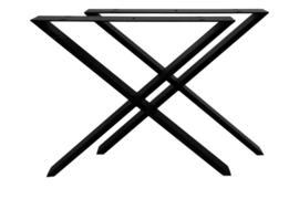 Tafelpoten - X-model - 70x71 cm - gepoedercoat zwart metaal - set van 2