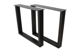 Tafelpoten - U-model - 78x72 cm - gepoedercoat zwart metaal - set van 2