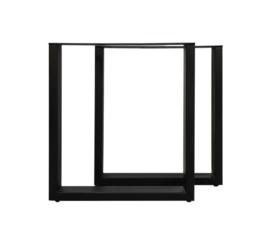 Tafelpoten - U-model - 65x72 cm - gepoedercoat zwart metaal - set van 2