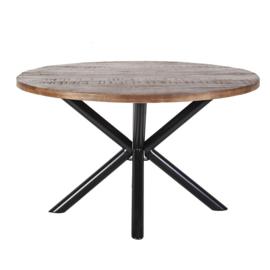 Eettafel rond met kruispoot 130x130 cm