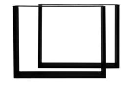 Tafelpoten - U-model - 70x72 cm - gepoedercoat zwart metaal - set van 2