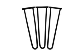 Hairpin-poten - zwart - ijzer - set van 3