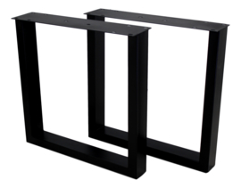 Tafelpoten - U-model - 72x72 cm - matzwart - set van 2