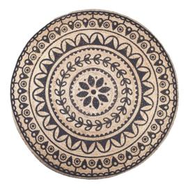 Carpet Jute rond 220x220 cm zwart
