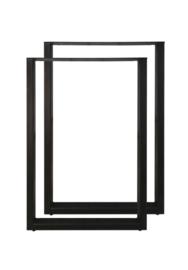 Bartafelpoten - U-model - 70x104 cm - gepoedercoat zwart metaal - set van 2