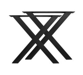 Tafelpoten - X-model - 80x72 cm - gepoedercoat zwart metaal - set van 2
