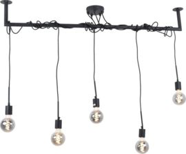 Hanglamp 5 lights 120 cm , zwart