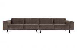 Bank Statement XL 4-zits 372 cm platte brede rib taupe