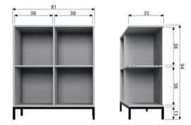 Stapelkast Lower case 4 vakken betongrijs incl. onderstel