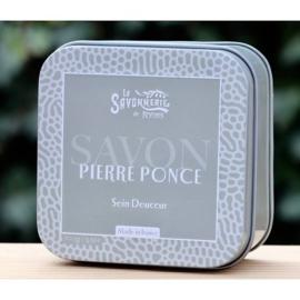 La Savonnerie de Nyons - Blikje zeep met gemalen puimsteen 100 gram.