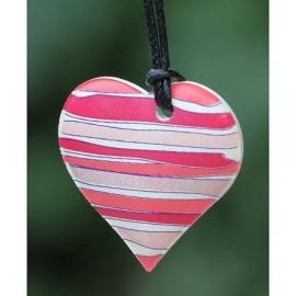 Ketting geparfumeerd in (cadeau) doosje hartje rood/rose gestreept