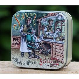 La Savonnerie de Nyons - Marseillezeep in vierkant blikje barbershop 100 gram.