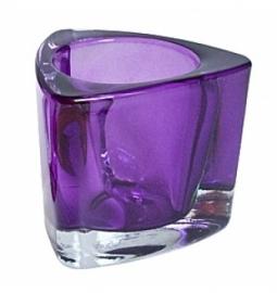 Dikwandig glas triangel voor (maxi) theelicht lila