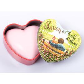 La Savonnerie de Nyons - Blikje met hartzeep rozen 100 gram.