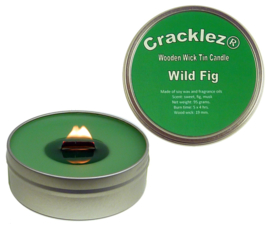 Cracklez® Knetterende Houten Lont Geurkaars in blik Wilde Vijg. Groen.