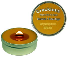 Cracklez® Knetter Houten Lont Geur Kaars in blik Chestnuts & Brown Sugar. Caramel en Noten. Caramel-bruin.