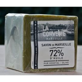 La Corvette - Blok  Marseillezeep olijven in cellofaan 500 gram.