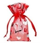 Organza zakjes Hartjes treklint rood ( 10 stuks)