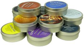 Cracklez® Knetter Houten Lont Geur Kaars in blik Fig & Vetiver. Designer Parfum Geinspireerd. Licht-groen.