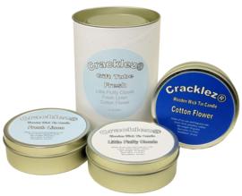 Cracklez® Geschenkset Fresh met 3 knetter houtlont geurkaarsen: cotton flower, fresh linen en little fluffy clouds