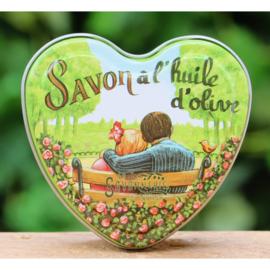 La Savonnerie de Nyons - Blikje met hartzeep coton 100 gram.