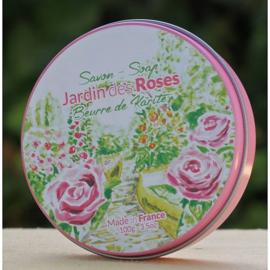 La Savonnerie de Nyons - Zeep in rond blikje rozen 100 gram.