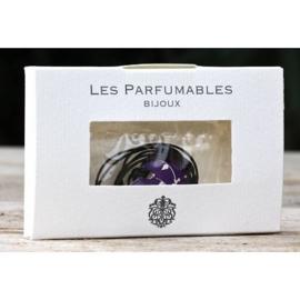 Ketting om te parfumeren in (cadeau) doosje hartje paars/wit