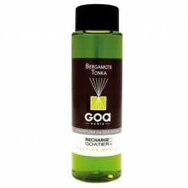 GOA Bergamote Tonka  Geurstokjes Navulling  250 ml. &  geurstokjes