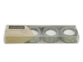 Natural Theelichthouder 4 delig hout soywax