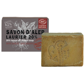 Aleppo Soap Co. - 	Aleppo zeep cosmos natural 20% laurier 190 gram.