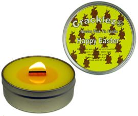 Cracklez® Knetter Houten Lont Geur Kaars in blik Vrolijk Pasen. Chocolade Geur. Geel.