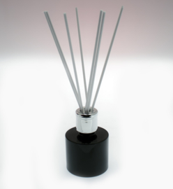 Glazen flesje (diffuser) Rond Zwart Glanzend 100 ml.