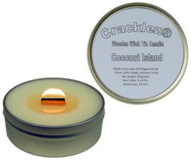 Cracklez® Knetter Houten Lont Geurkaars in blik Coconut Island. Kokos en Tropische Vruchten. Wit.