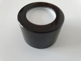 Glazen flesje (diffusser 100 ml.) afsluitvel wit met Zwarte Sierdop
