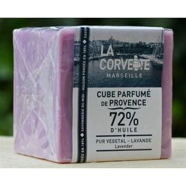La Corvette - Blok Marseillezeep lavendel in cellofaan 200 gram.