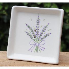 Lumière de Provence - Zeepbakje blok wit met  lavendeldecoratie