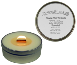 Cracklez® Knetter Houten Lont Kaars in blik White. Geurloos. Wit.