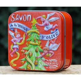 La Savonnerie de Nyons - Zeep in vierkant blikje (kerstgeur: kaneel/sinaasappel)  100 gram kerstboom & engeltjes